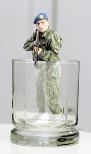Guarding the vodka glass as a Russian paratrooper