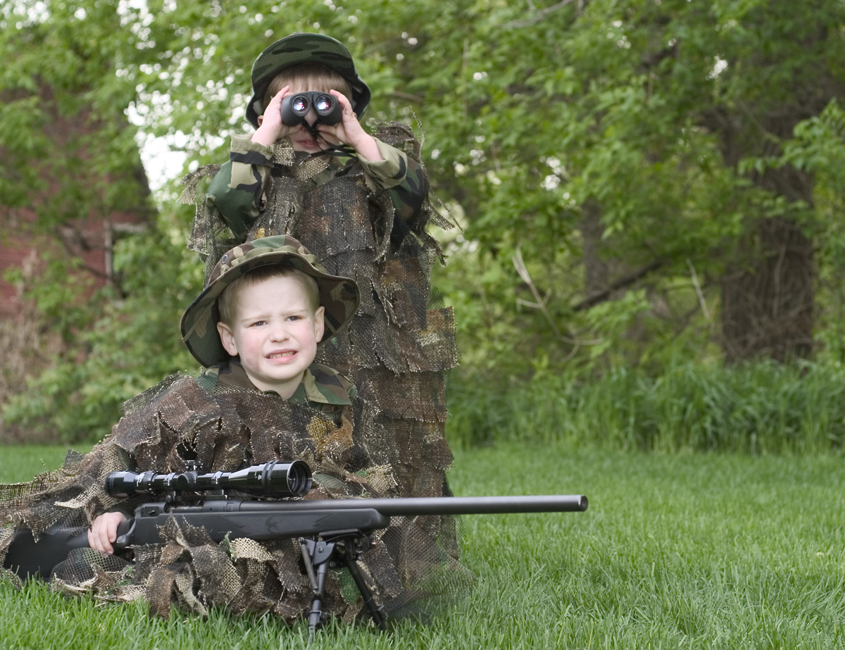 The youngest sniper-spotter team.