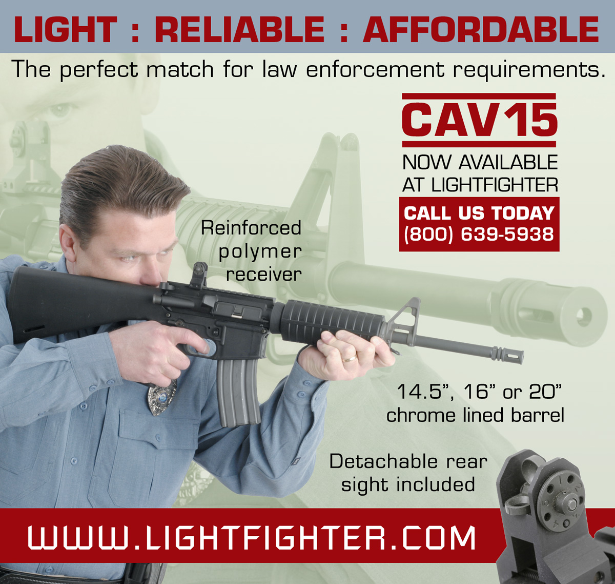 Ad for Cavalry Arms disributor Lightfighter (SWAT Magazine).