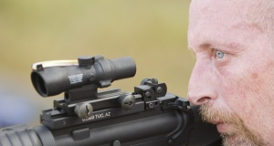 Randy trying out a compact ACOG on an AR15.